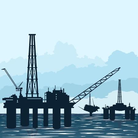 oil  rig: Circuito funziona l'industria del petrolio. Illustrazione su l'estrazione e trasformazione delle risorse naturali.