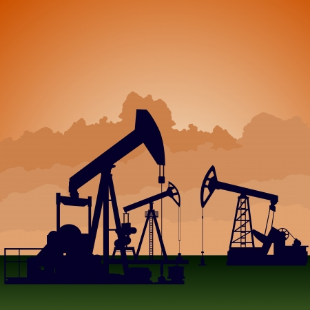 recursos naturales: Circuito funciona de la industria petrolera. Ilustraci�n en la extracci�n y procesamiento de recursos naturales. Vectores