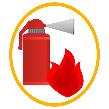 Fire extinguisher and fire in an oval frame. Illustration on white background. Vector