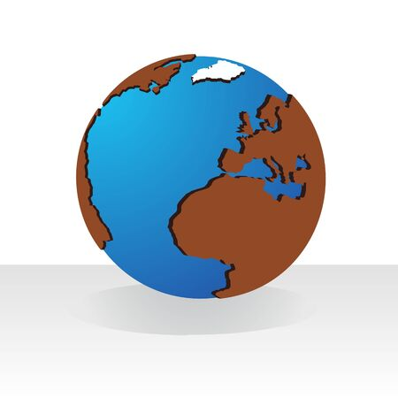 Layout of the world. Illustration on white background. Illustration