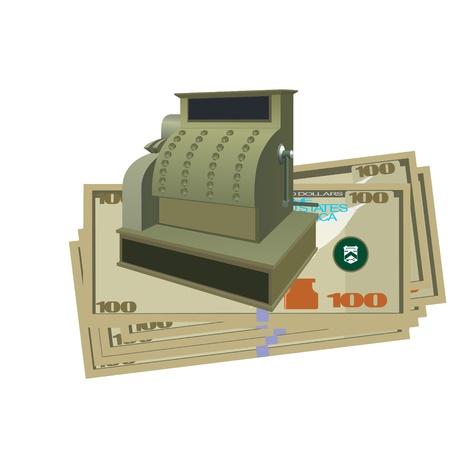 Vintage cash register and money. Illustration on white background. Stock Vector - 15389486