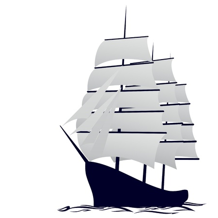 barca a vela: Vecchia nave a vela Illustrazione su sfondo bianco Vettoriali