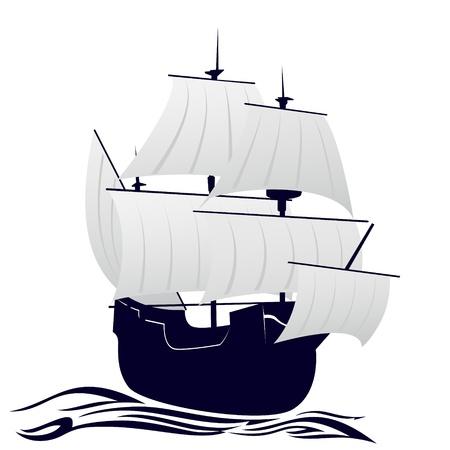 galleon: Old sailing ship  Illustration on white background  Illustration