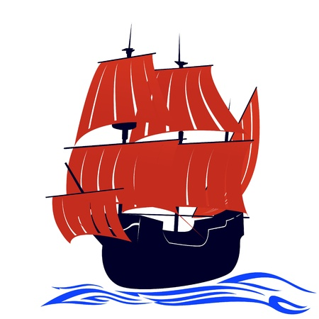 Old sailing ship  Illustration on white background Stock Vector - 15539891