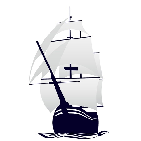 marine ship: Old sailing ship  Illustration on white background  Illustration