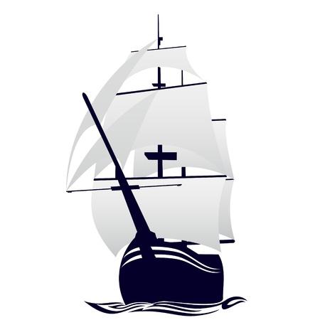 vecchia nave: Vecchia nave a vela Illustrazione su sfondo bianco Vettoriali