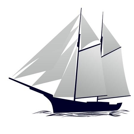 Old sailing ship  Illustration on white background  Vector