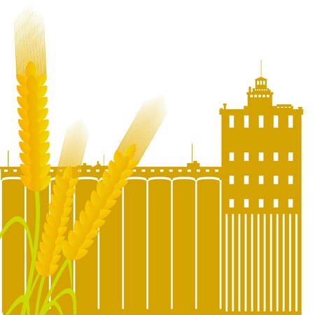 Ear of wheat against the elevator  Illustration on white background Stock Vector - 15539898