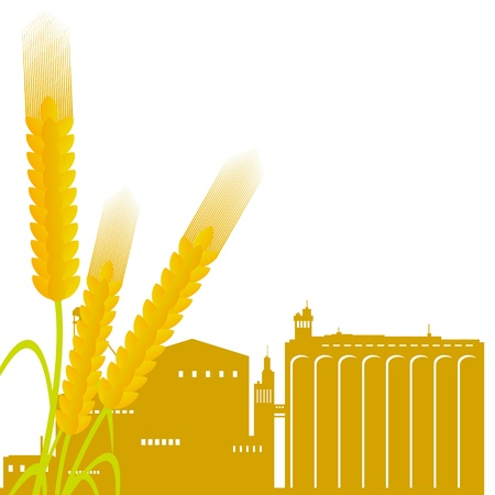 Ear of wheat against the elevator  Illustration on white background Stock Vector - 15539895