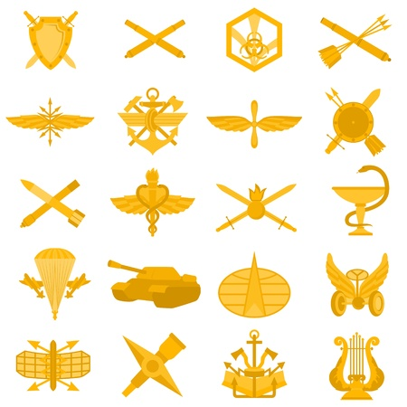 army tank: Badges of arms of the Russian Army. Illustration on white background.