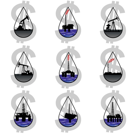 circuit sale: Circuit works the oil industry amid currency symbol sign. Illustration on the production and sale of natural resources. Illustration on white background. Illustration