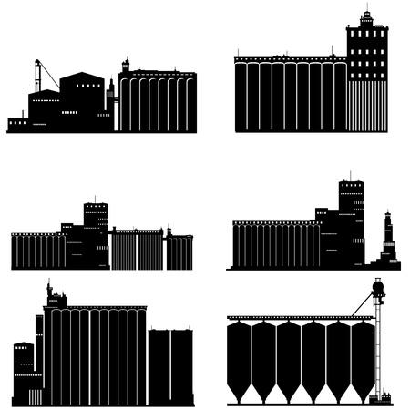 granary: Contorno nero e bianco illustrazione di un granaio. Illustrazione su sfondo bianco. Vettoriali