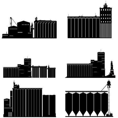 granary: Contour black and white illustration of a granary. Illustration on white background.