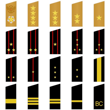 ranks: Military insignia of the Russian army. Illustration on white background.