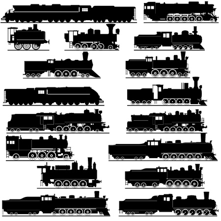 steam train: Old railway. Black and white illustration of a white background.