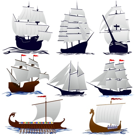 Old sailing ships. Illustration on white background. Stock Vector - 15578473