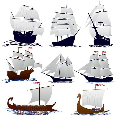 Oude zeilschepen. Illustratie op witte achtergrond.