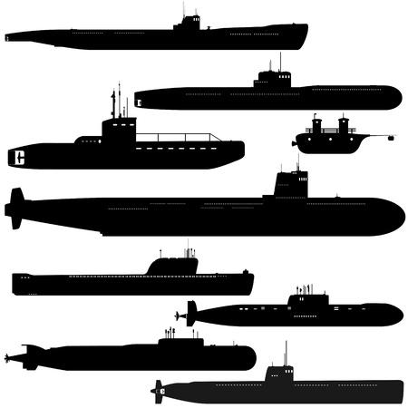 submarino: Armada. Un conjunto de submarinos caminos. Ilustración blanco y negro de un fondo blanco. Vectores