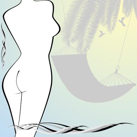 nude mann: Die Kontur der weiblichen Figur und einer H�ngematte Illustration auf einem Sommerurlaub