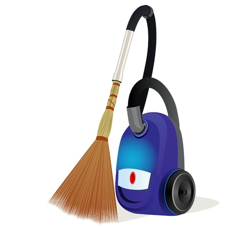 electric broom: Modern vacuum cleaner with a broom  Humorous Illustration  Illustration on white background