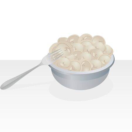 ready cooked: Dish with dumplings  Illustration on white background