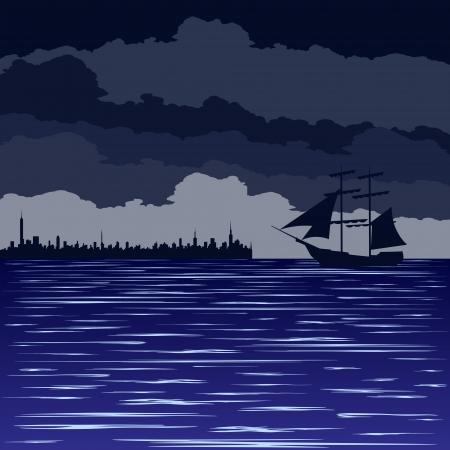 Marine night landscape  Old sailing ship at sea Stock Vector - 15717770