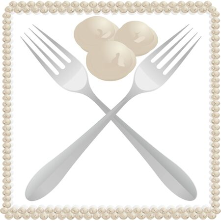Culinary products  Dumplings and two table forks  Illustration on white background  일러스트