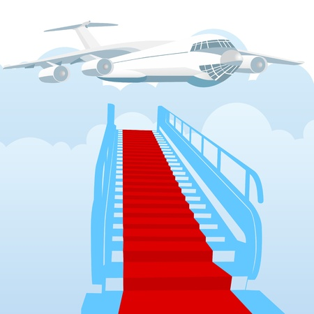 Airliner and ladder covered. Illustration on white background. Vector