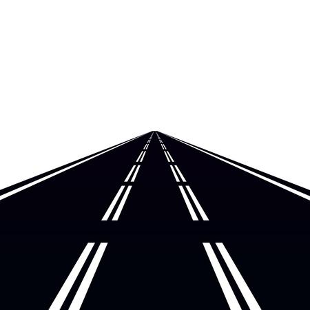 道路や交通標識。白い背景の図。