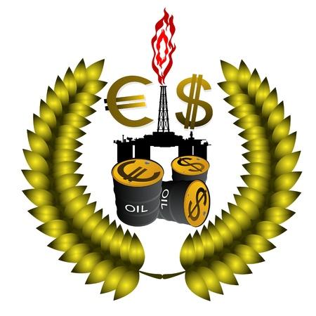 ressources naturelles: P�trochimique circuit de tours, un signe de dollar, l'euro et de barils de p�trole. Illustration sur la production et la vente des ressources naturelles. Illustration sur fond blanc. Illustration