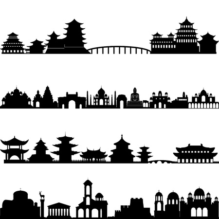 landmark: Outlines of buildings and architectural structures. Illustration on white background.