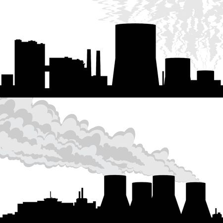 Outline of buildings and structures at the nuclear power plant. Illustration on white background. Vector