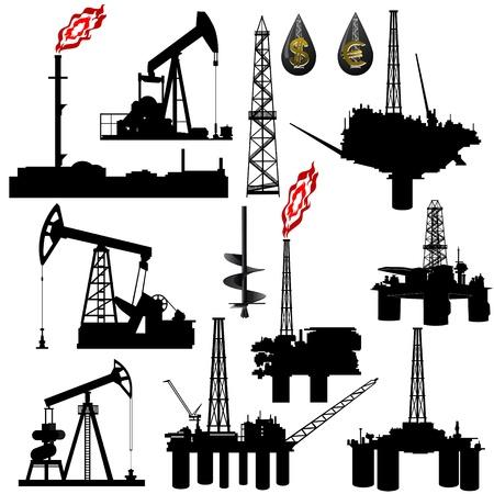 torres petroleras: Los contornos de las instalaciones de la industria petrolera. Ilustraci�n en la producci�n y venta de los recursos naturales. Ilustraci�n sobre fondo blanco.