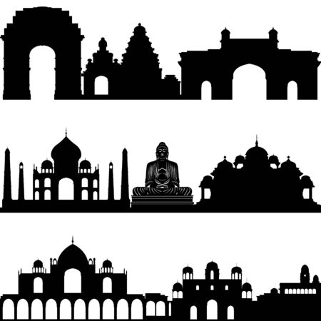 Outlines of buildings and architectural structures. Illustration on white background. Vector