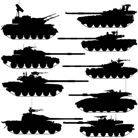 The contours of modern tanks. Illustration on white background. Vector