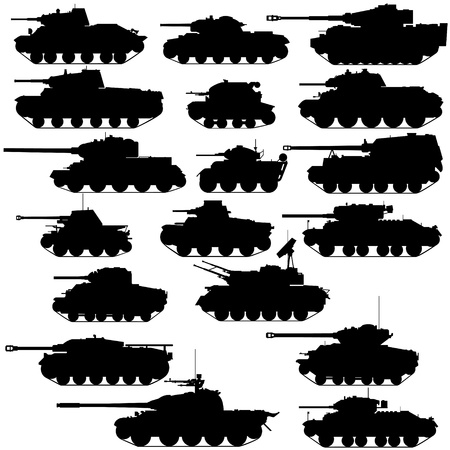 dangerous weapons: The contours of the old tanks. Illustration on white background. Illustration