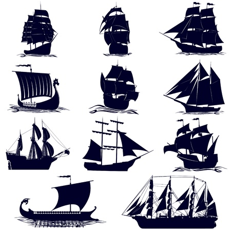 ancient ships: Old sailing ships. Illustration on white background.