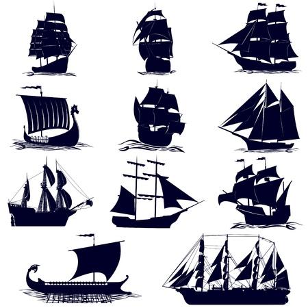 vecchia nave: Velieri antichi. Illustrazione su sfondo bianco. Vettoriali