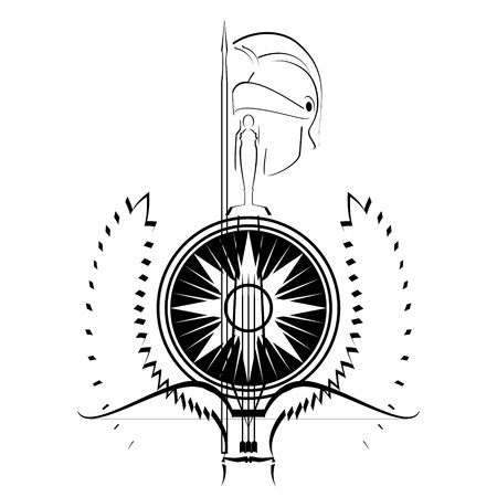 Arms and armor of the ancient warrior. Contour black and white illustration on a white background. Stock Vector - 15826512