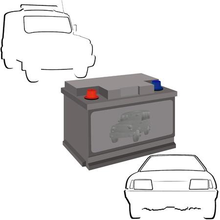 Autobatterie und Konturen der Autos Illustration auf weißem Hintergrund