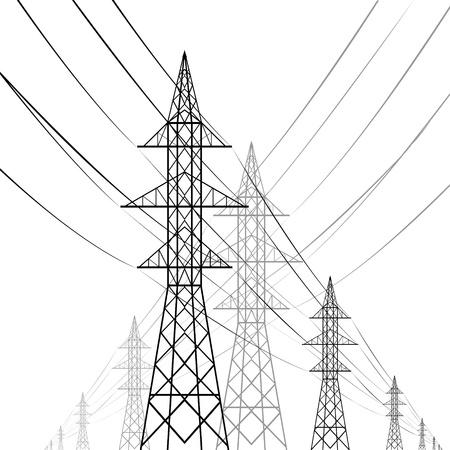 Wieże przewodów wysokiego napięcia z ilustracji na białym tle Ilustracje wektorowe