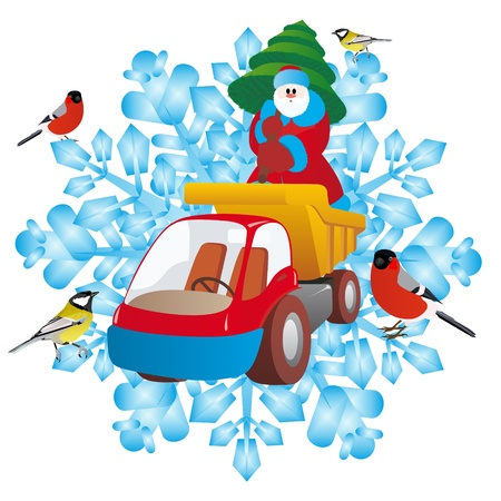 father frost: Santa Claus with a Christmas tree on a truck on the background of snowflakes  An illustration on a white background