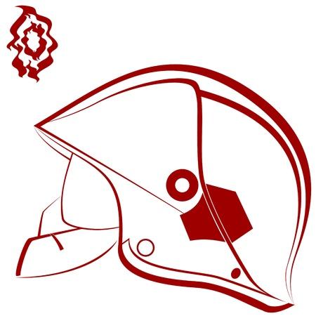 casco rojo: Modern casco del bombero y el fuego abstracto Una ilustración sobre un fondo blanco Vectores
