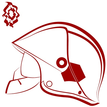 Modern helmet of the fireman and abstract fire  An illustration on a white background