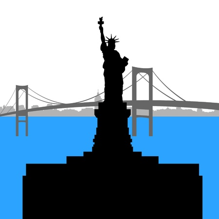 Contour of the Statue of Liberty on the background of the bridge  Vector