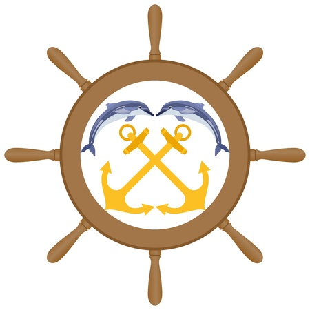Abstract Marine icon  Two anchors and two dolphins against the wheel of a ship  Illustration on white background