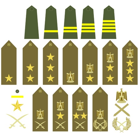 ranks: Epaulets, military ranks and insignia  Illustration on white background