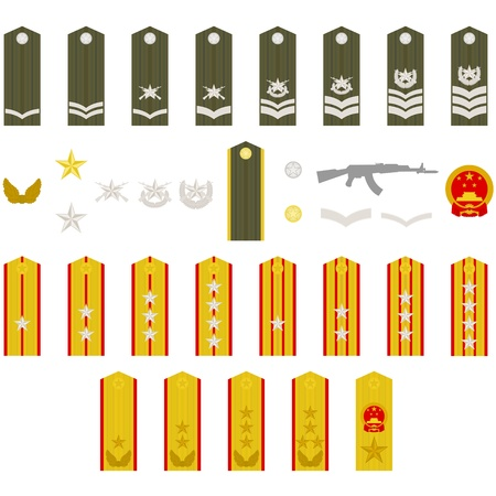 Epaulets, military ranks and insignia  Illustration on white background  Vector