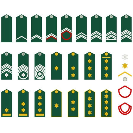 Epaulets, military ranks and insignia  Illustration on white background