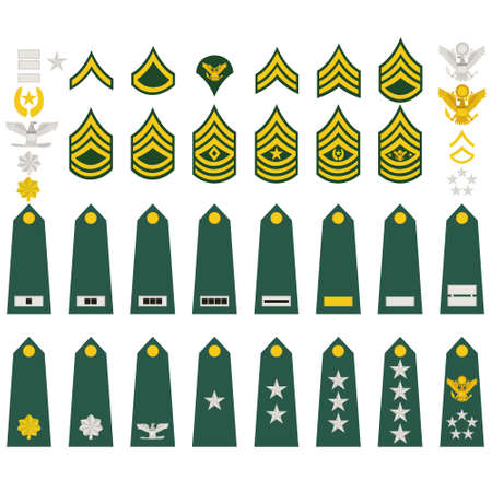 classement: �paulettes, des grades militaires et insignes Illustration sur fond blanc Illustration